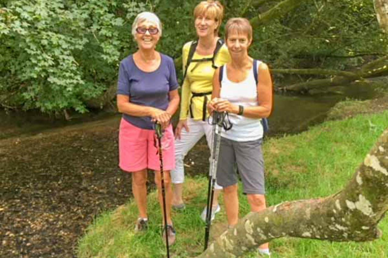 Viv, Barbara and Linda enjoying the Cattistock countryside