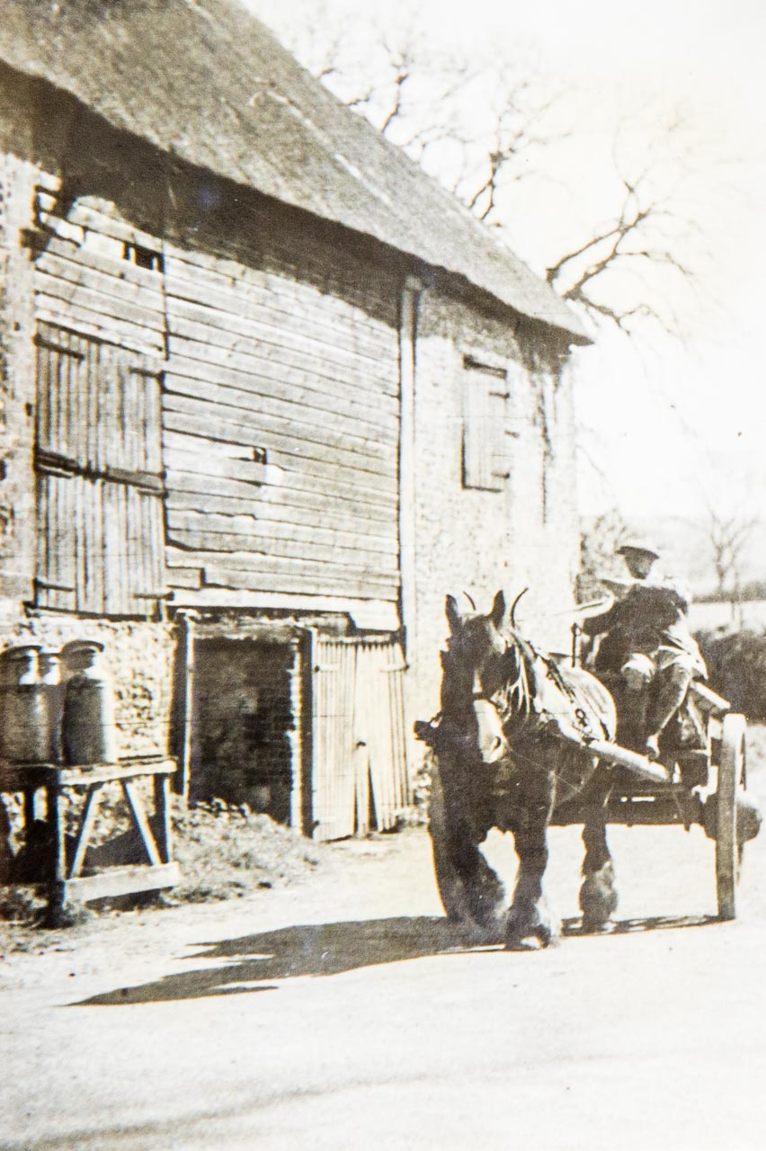George Langford at Meech's Corner with his Horse (named Pleasant) and Cart
