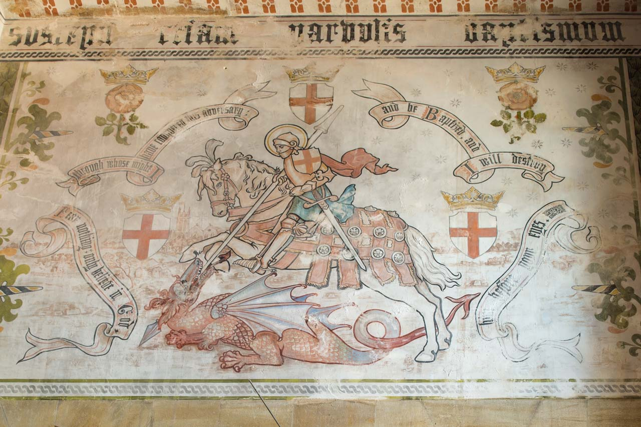 The 1901 mural of St George and the Dragon needs some restoration work