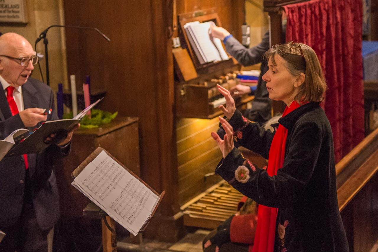 Jen, conducting at the Carol Service