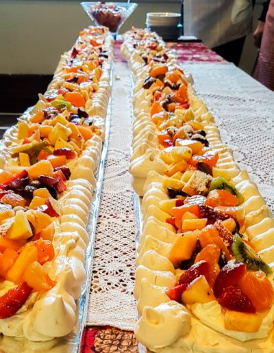 The delicious dessert ready to be served at the Cattistock Community lunch