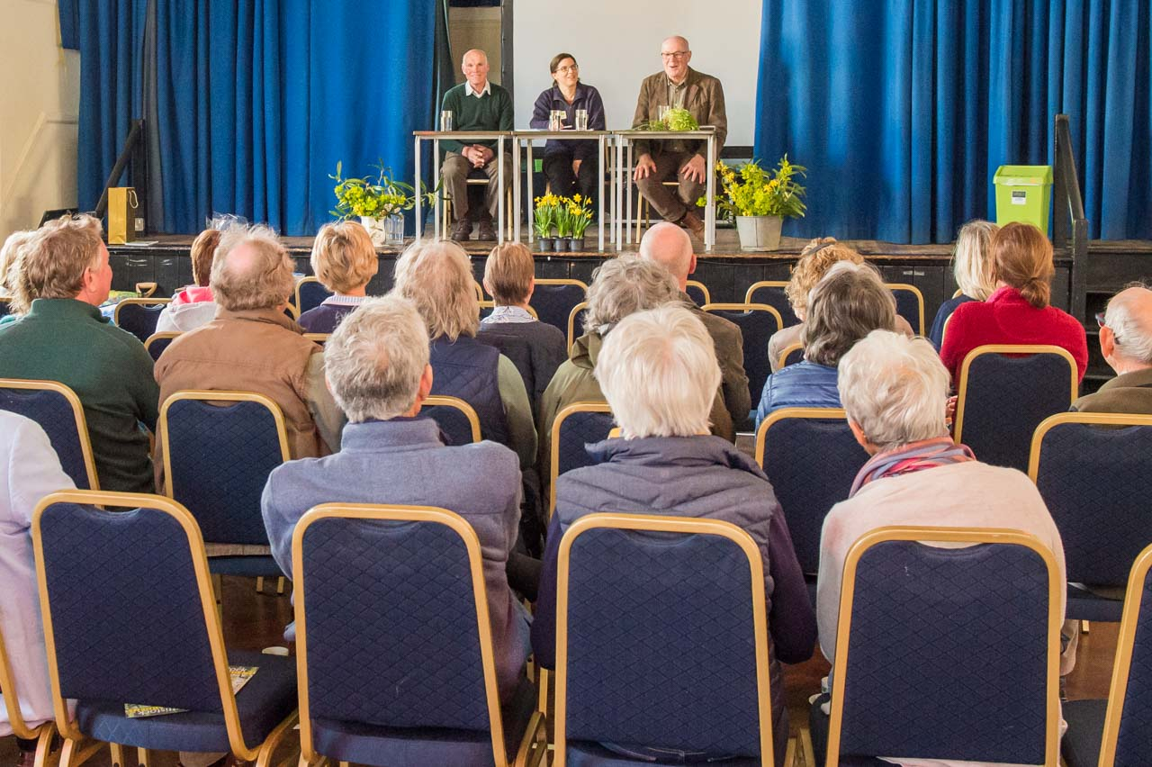 The panel take questions from the enthusiastic audience
