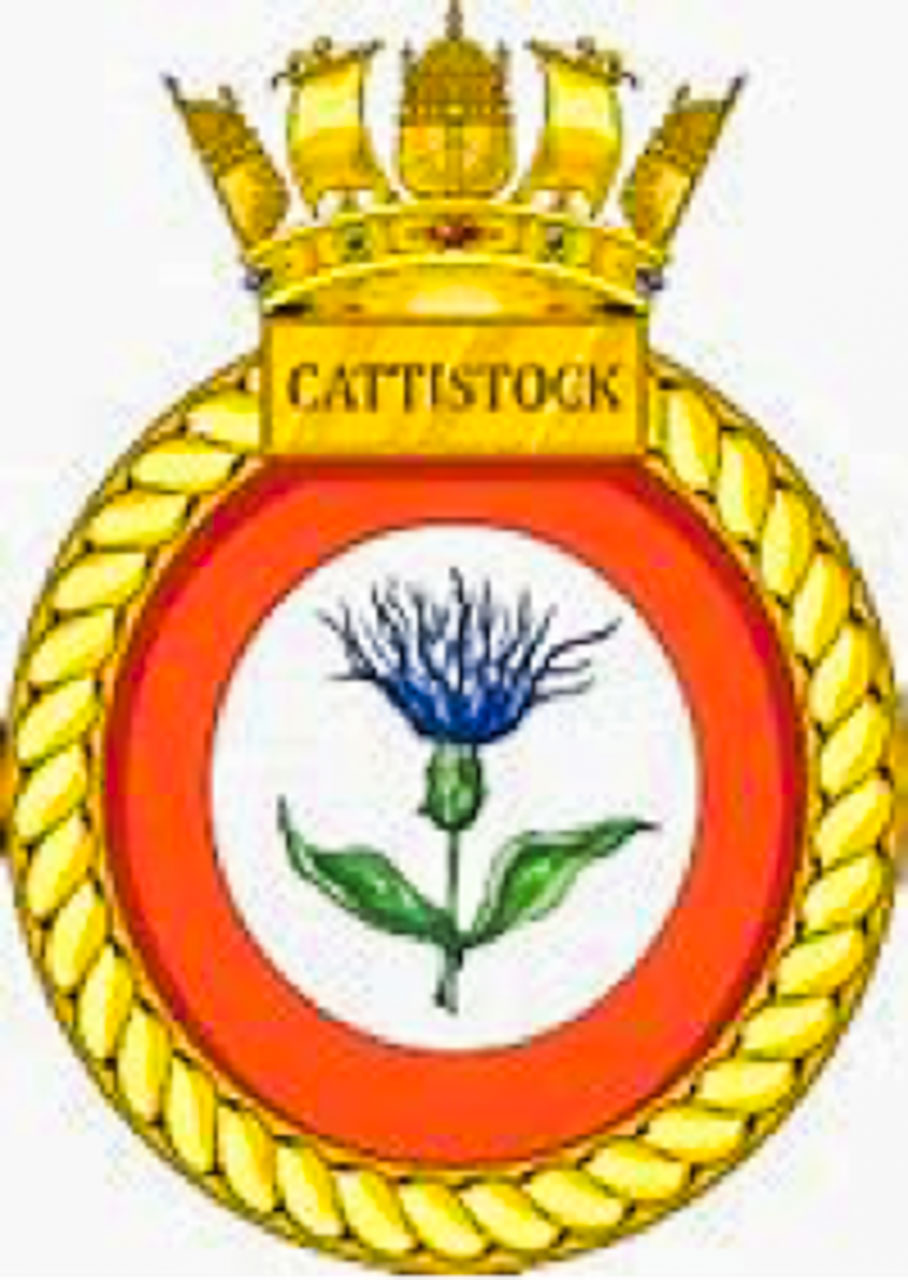 The badge of HMS CATTISTOCK