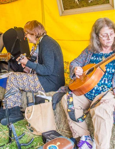 Dorset Knob Throwing 2019: Members of the Cattistock Folk Club entertain vsitors to the pop-up Fox and Hounds