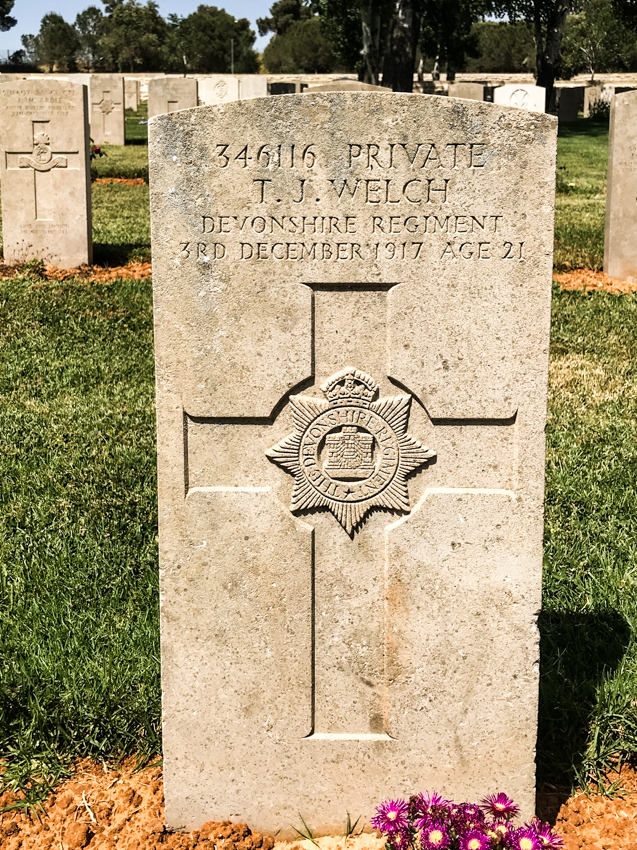 The grave of Private T. J. Welch 346116