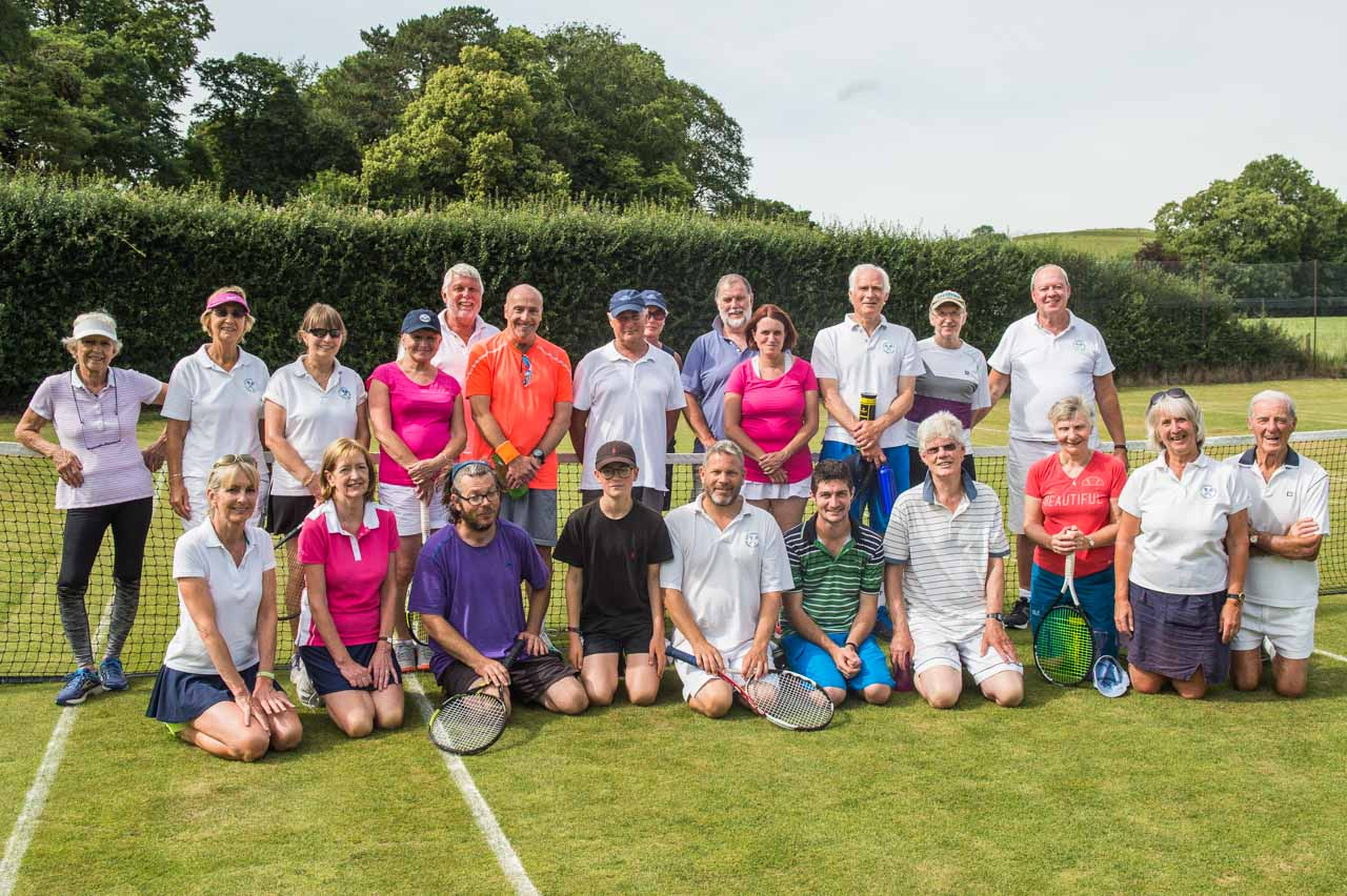 All the players and organisers of a friendly tournament hosted by the Cattistock Lawn Tennis Club against Beaminster Tennis Club