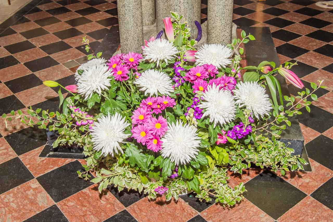 An example of the flower displays regularly seen in the church