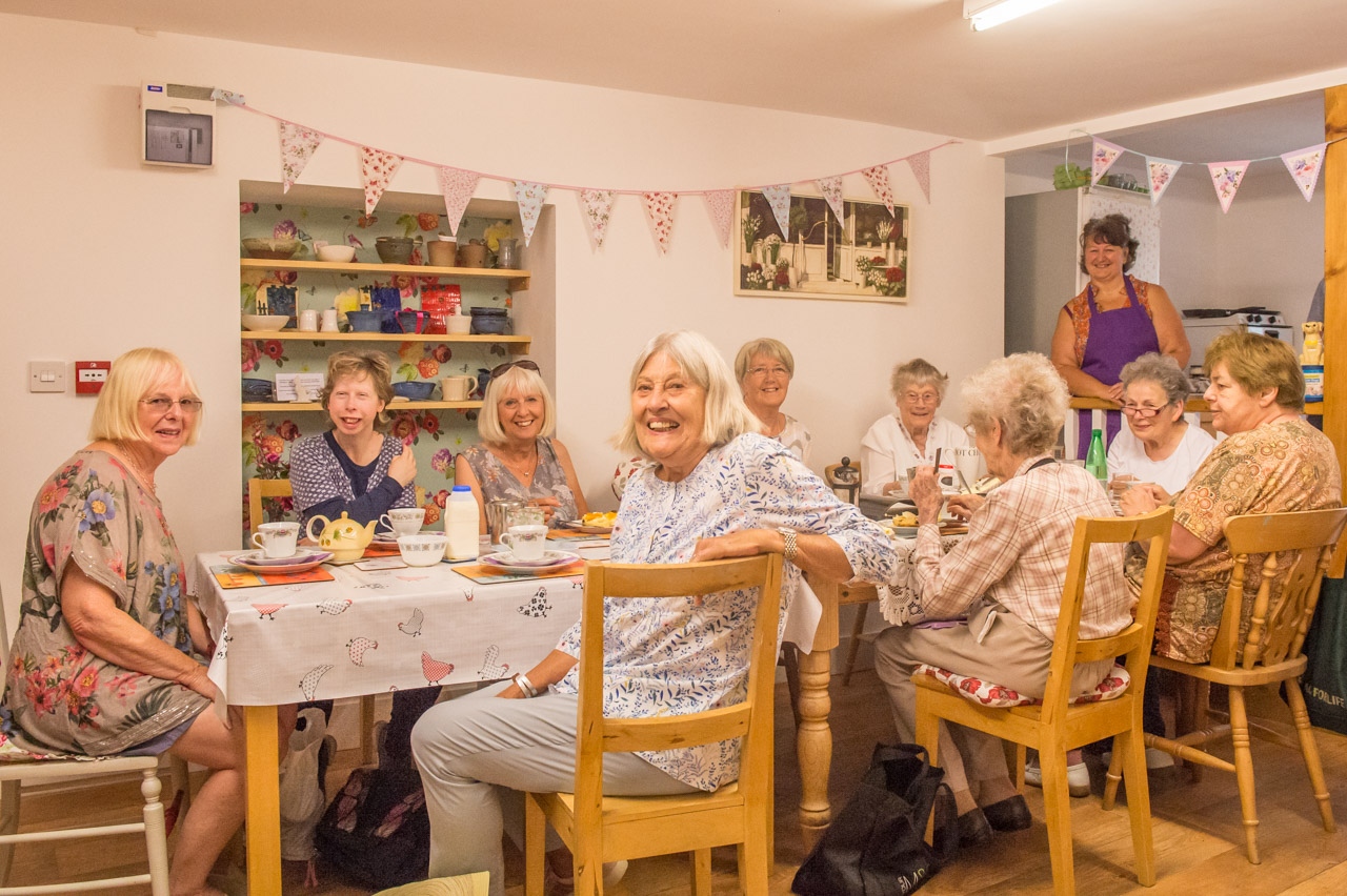 Pauline, Monica, Heather, Jo, Beth, Mary, Liz, Val, Mary and Cathy enjoy a cup of tea, some cake and a chat
