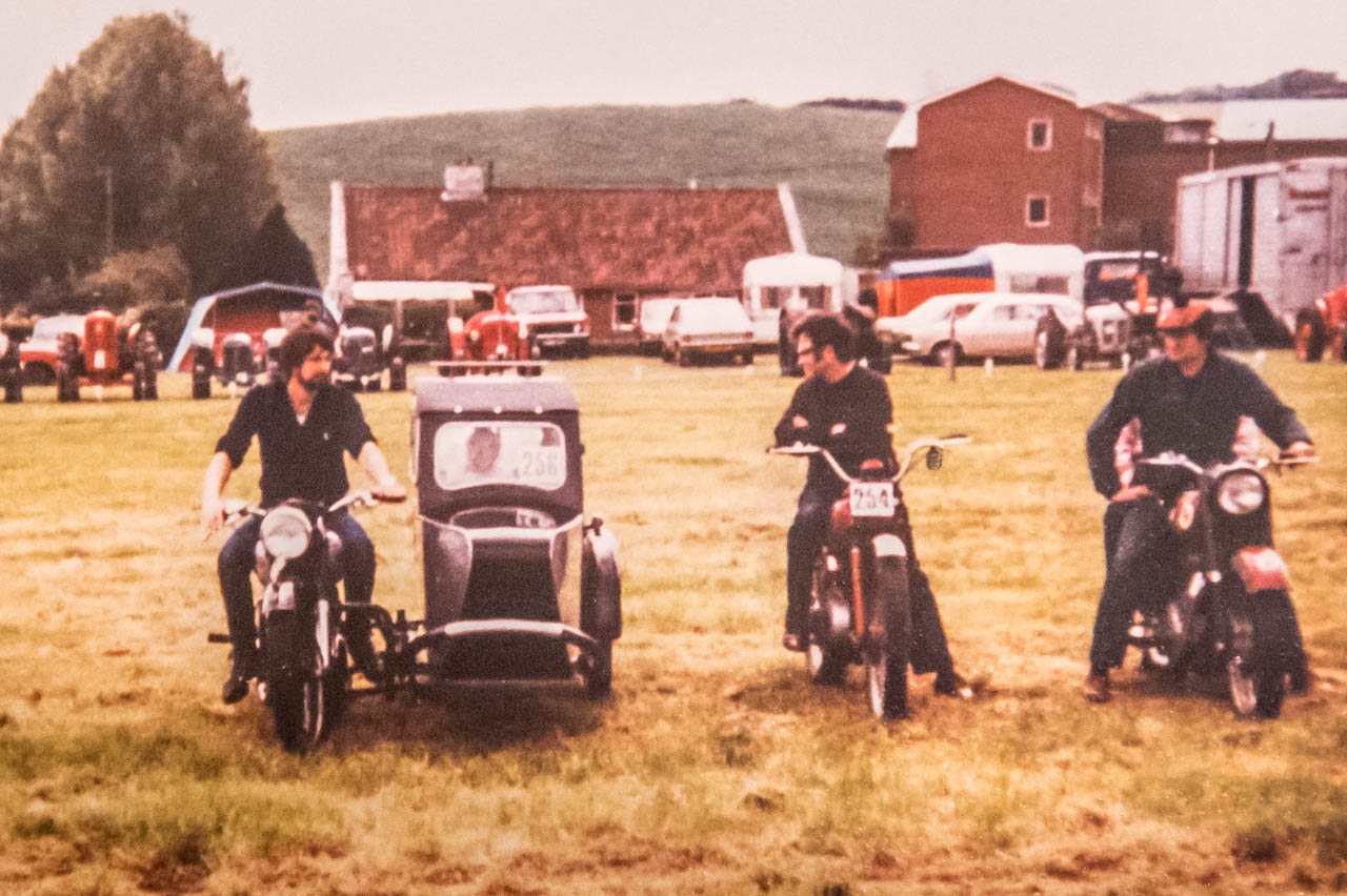 Andrew, David (Mike's brother) and Mike on a 500 Ariel Red Hunter at the Bridport Rally in the 70's