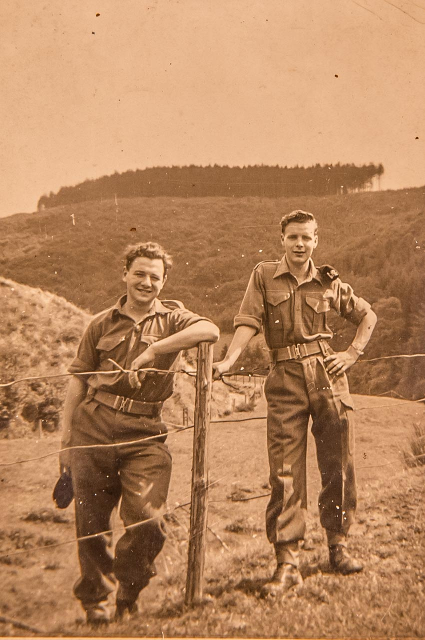 Eric (left) and a colleague during his National Service from 1958 to 1960