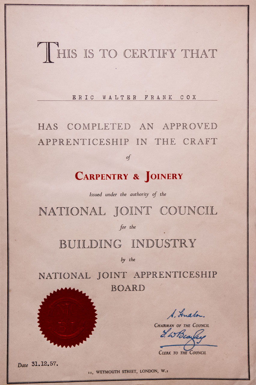 Eric's Apprenticeship Certificate from 1957