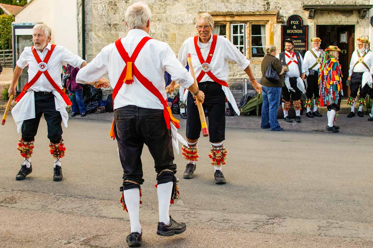 A great evening watching Morris dancers outside the Fox & Hounds