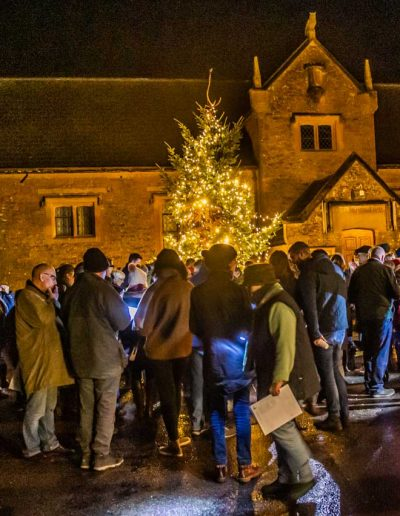 The St Peter and St Paul church and the Savill Hall make a superb backdrop for the 2019 Carol singing
