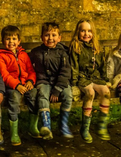 Five youngsters made their own fun during the Carol singing