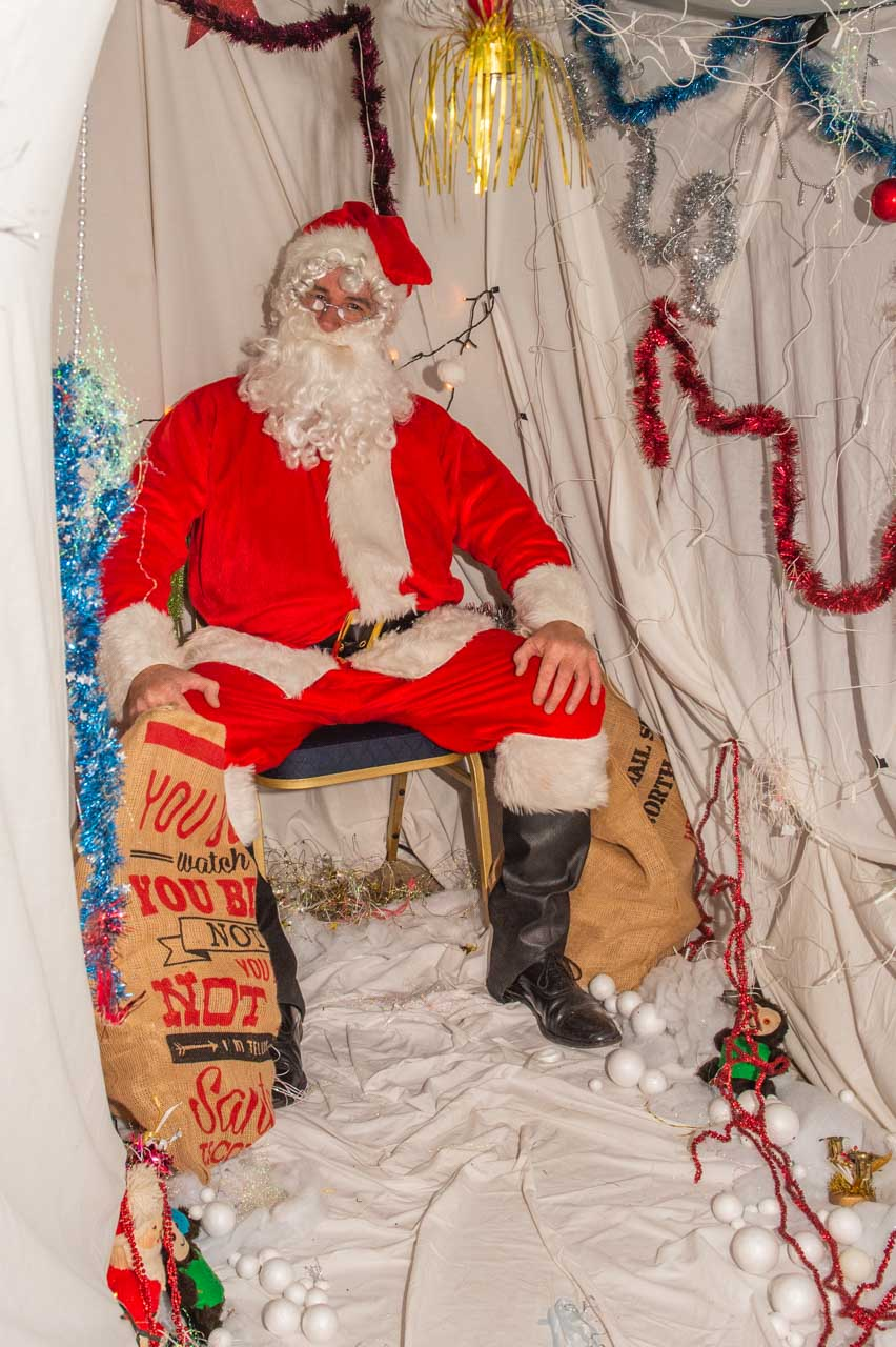 Santa's in his wonderful grotto, ready for his first visitor