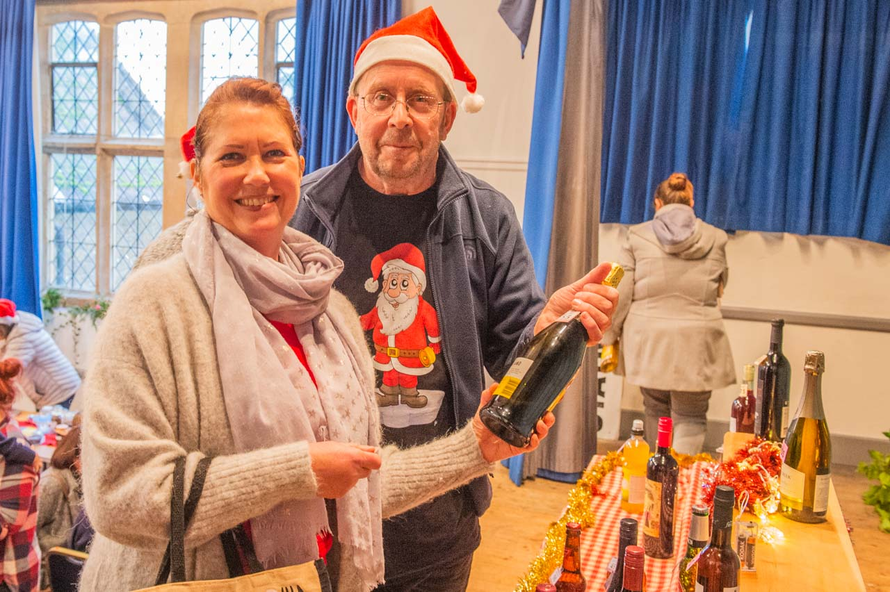 Phil (aka Terry) hands Ruth her prize at the ever popular tombola