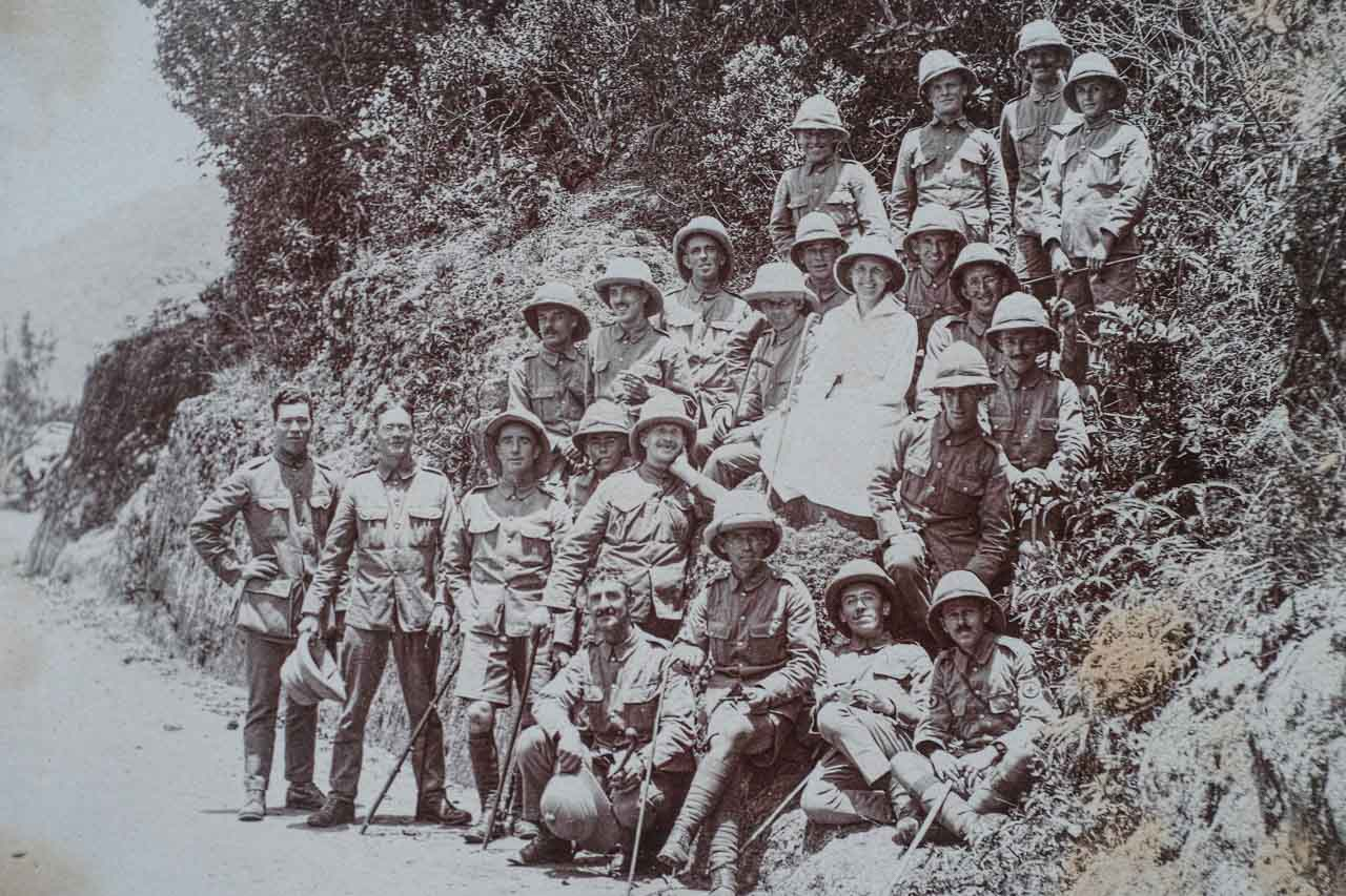 1918 and, 4th left from the top, Grandfather Henry Stickland and brothers-in-arms convalescing in Mysore, India