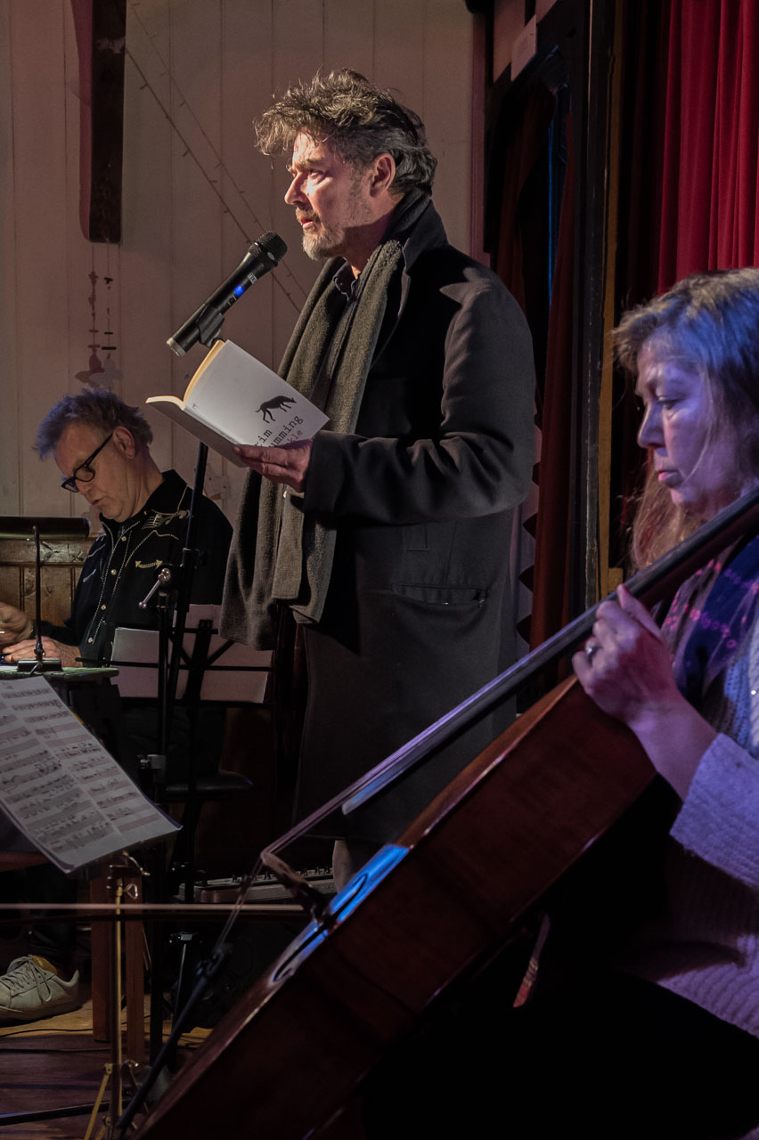 Tim reading, accompanied by Emily and BJ Cole playing an arrangement from his 'Indian Willow'