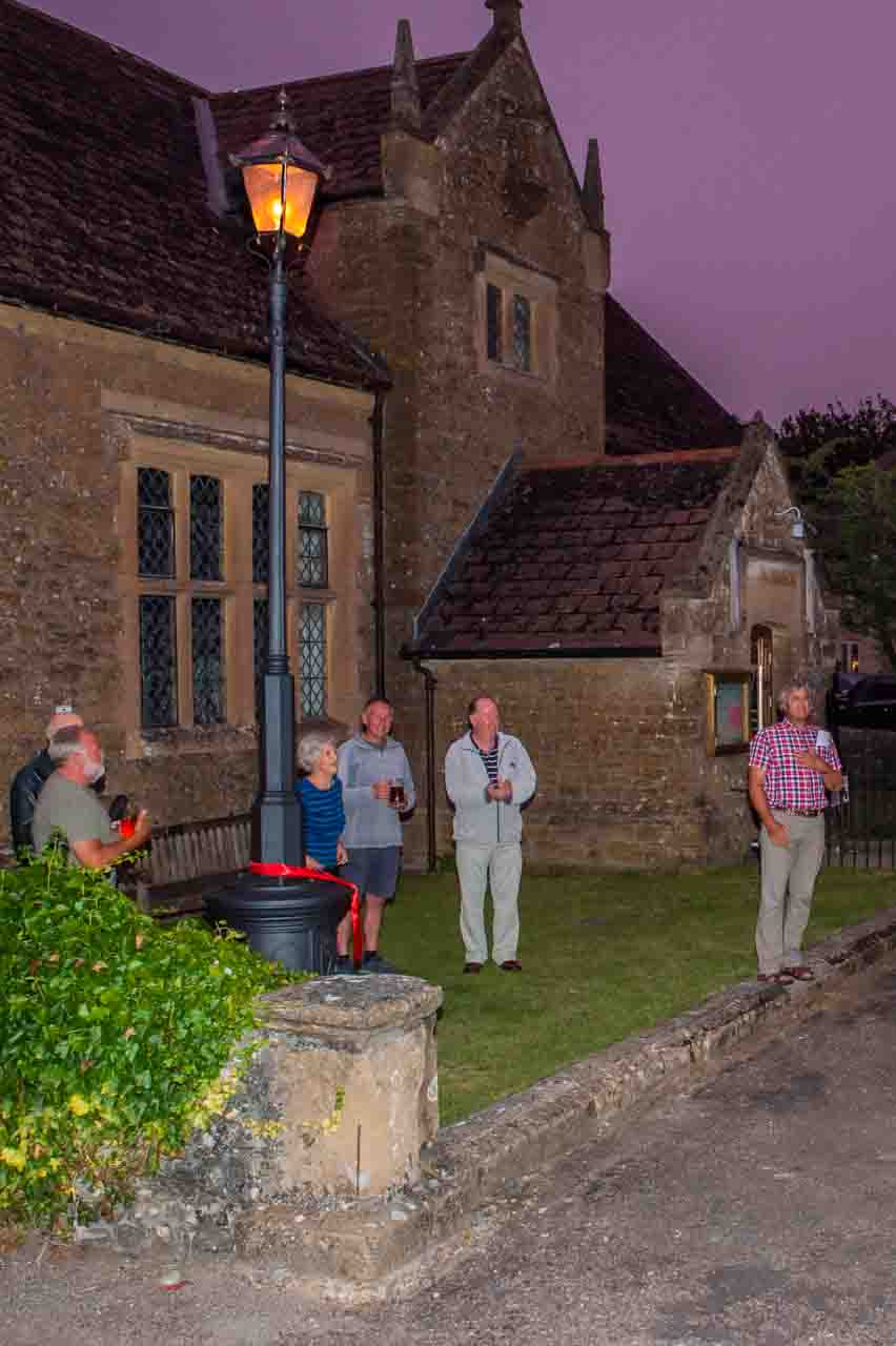 Eve officially lights up Cattistock's renovated Street Lamp