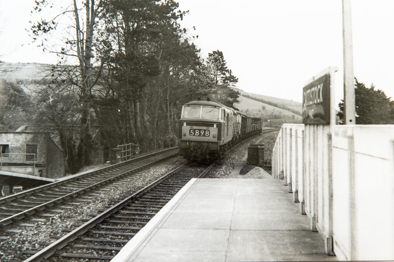 1964 and a brush type diesel about to pass through Cattistock Halt
