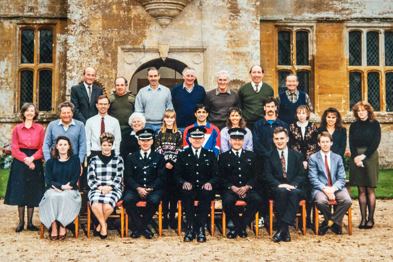 1989/91 and the staff of Chantmarle House. Herbie is in the top row, second left and Dave Swatridge is standing next to him on the right hand side