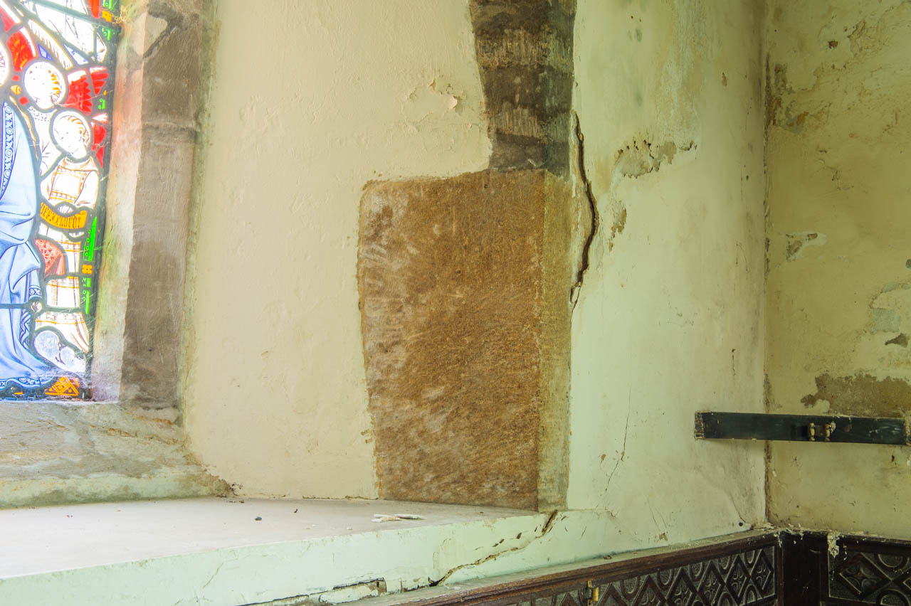 A clear example of damage to the Lady Chapel walls caused by the damp