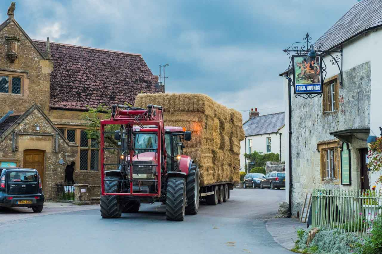 Twilight and Bertie carefully steers a load of straw through the village