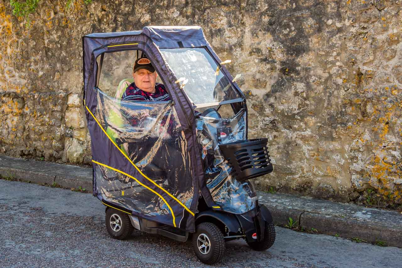 Herbie in his electric buggy is a familiar sight between Cattistock and Maiden Newton