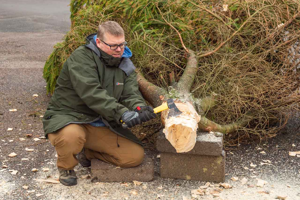 James takes his turn with the Hand axe