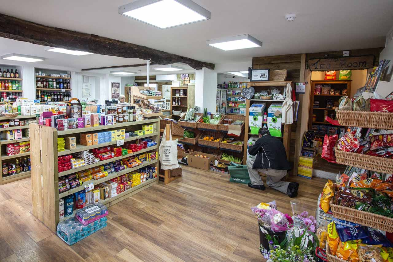 The view from the entrance to the shop and a wide range of products