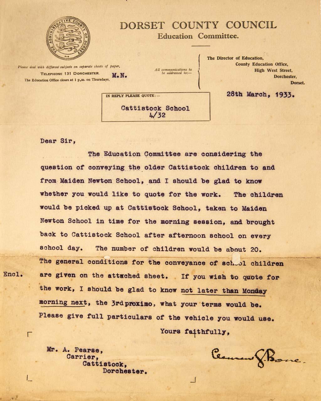 The invitation to quote for the Cattistock to Maiden Newton School contract