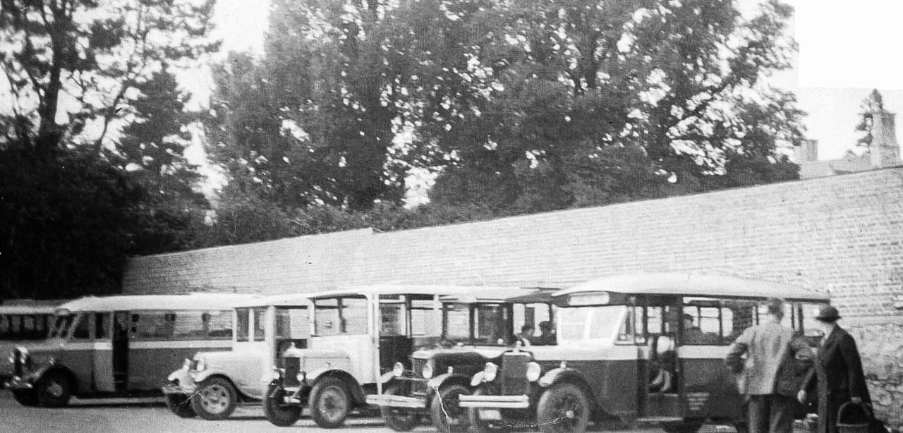 Vehicles in the Council Yard in the 1930's, including a REO Speedwagon, driven by Grandfather George