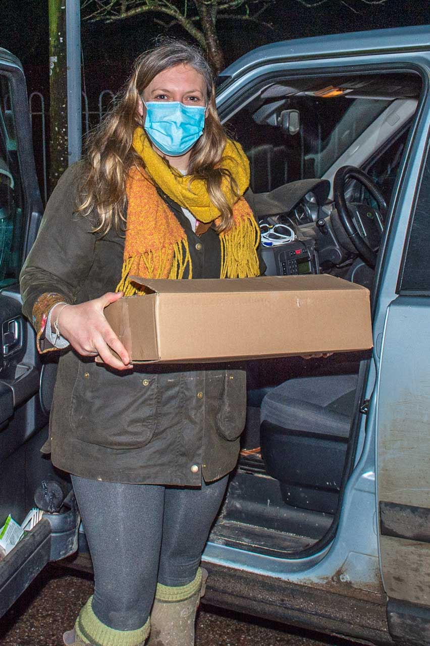 Katherine about to deliver meals outside Cattistock