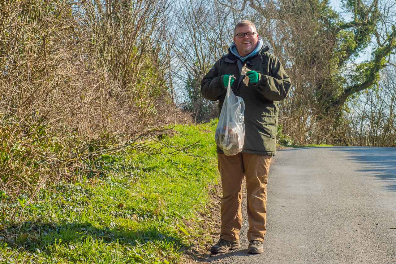 Always plenty of litter in Staggs Folly, as James is finding - but it's a lovely day