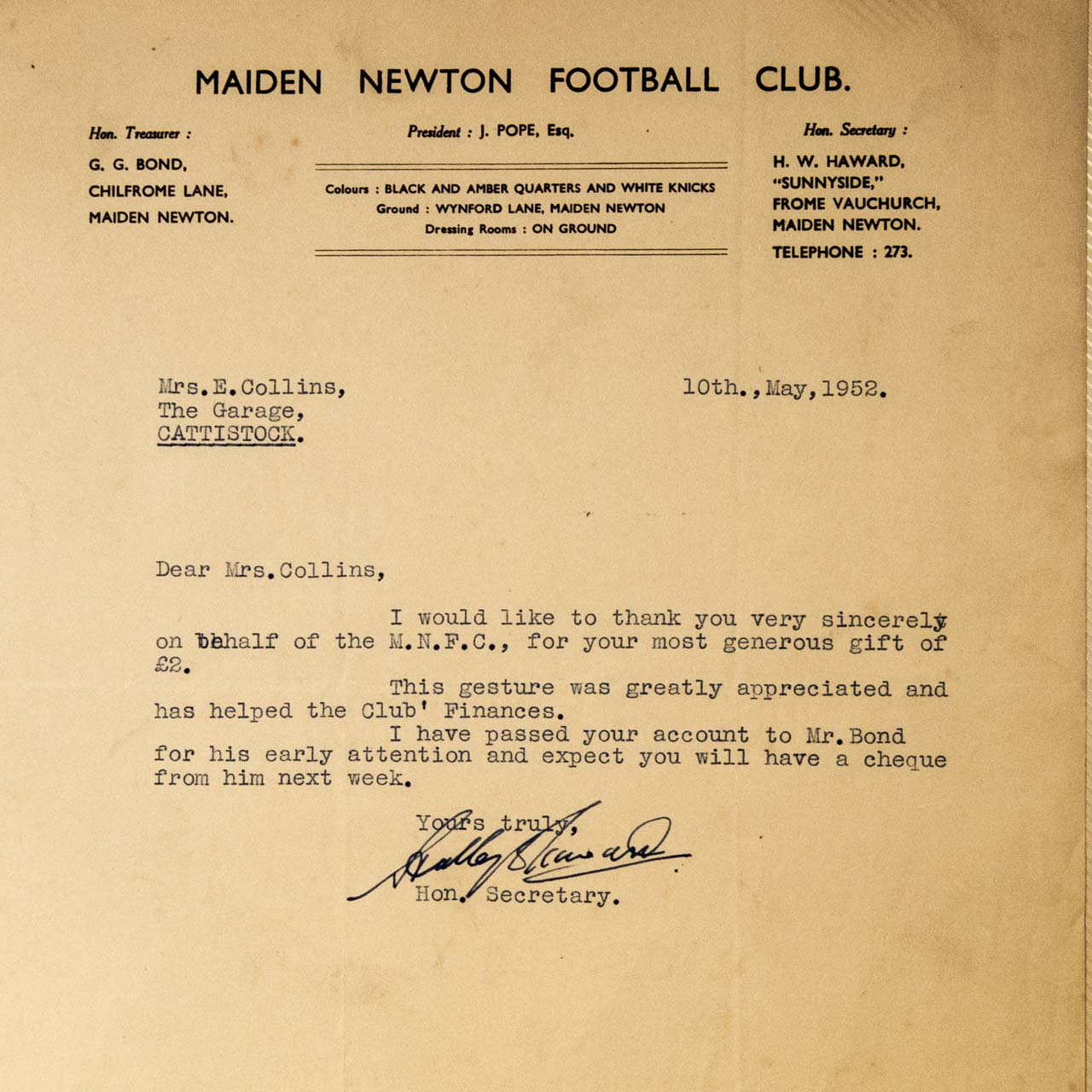 Appreciation for a generous donation of £2 (£64 in current value) to the Maiden Newton Football Club (1952)