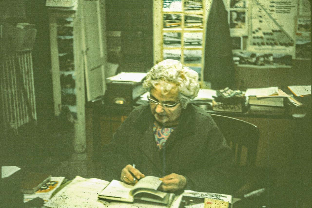 Ethel in the office at Cattistock c1967