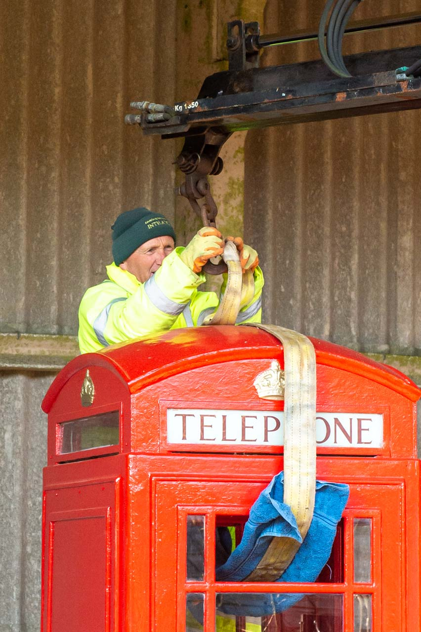 Ian preparing the telephone box for the lift to its new home