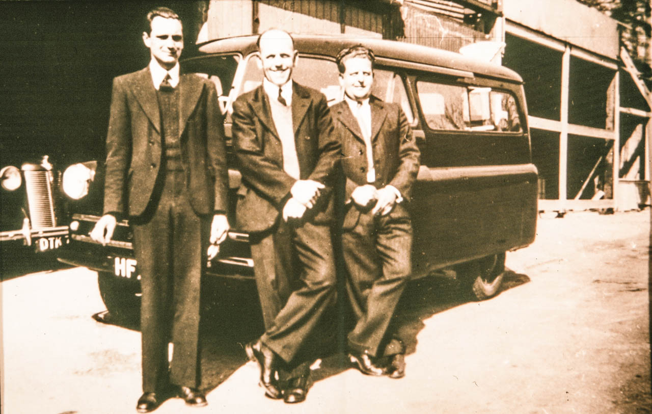 Ivor (Nigel's Dad) Lew and Lionel with HFX the Bedford Dormobile bus in 1954