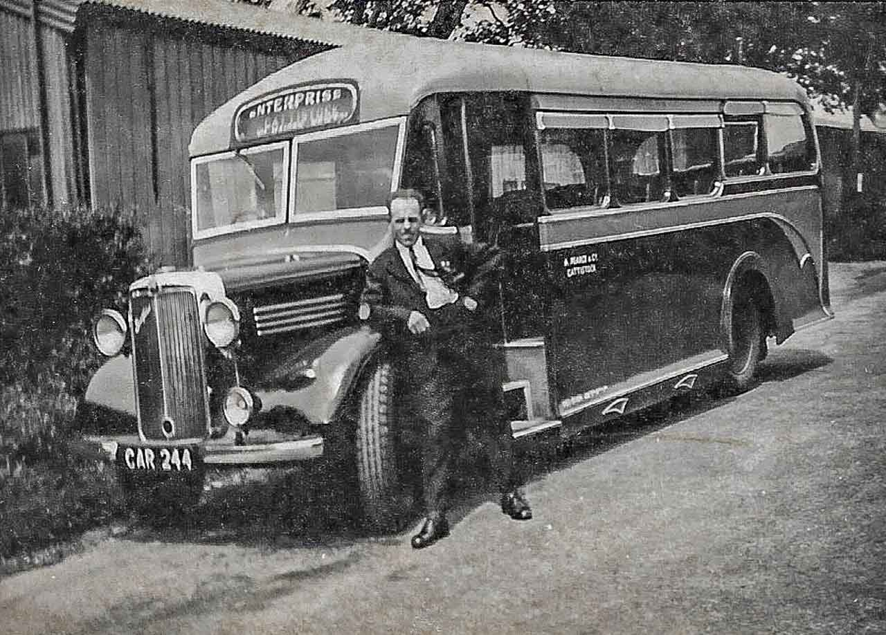 Lew with CAR 244 outside Cattistock Garage c1948
