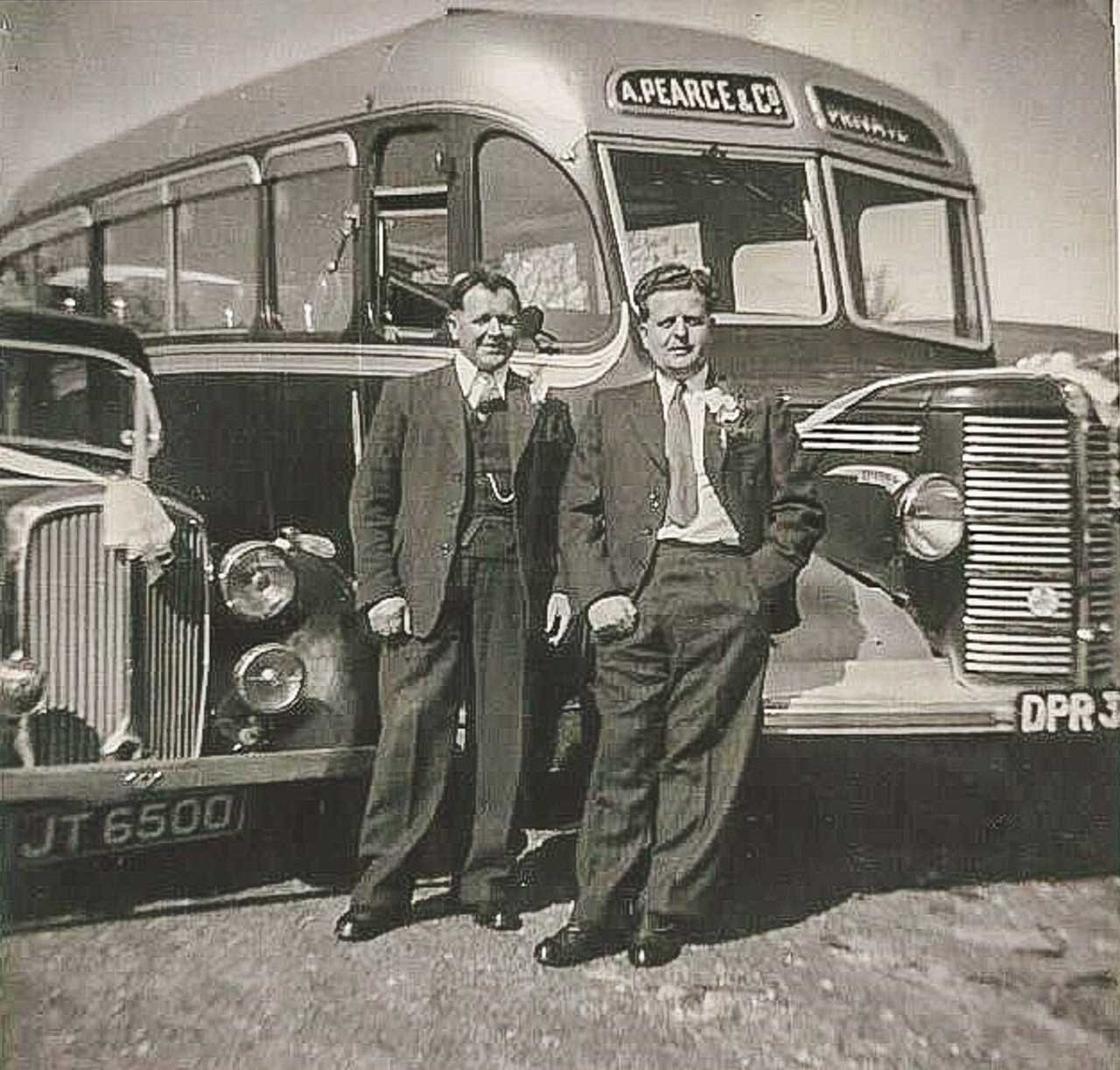 Reg Ironside and Lionel Rogers, both from Cattistock, on wedding duty late 1940's