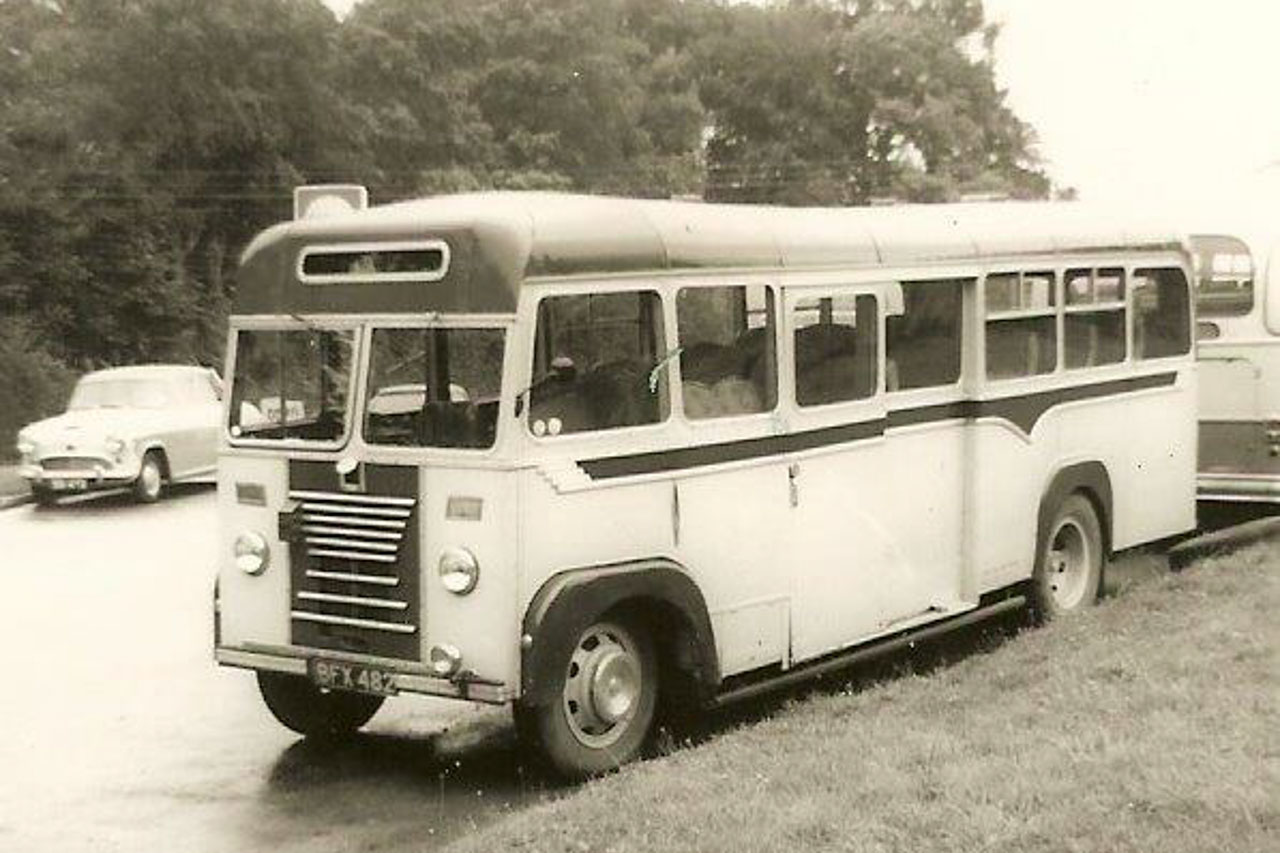 The rebodied 'Matchbox' bus BFX 482 whilst on loan to Banfield's Coaches Beaminster c1965 (photo © R Grimley)