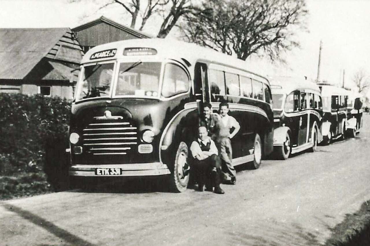 The 3 Musketeers with the fleet outside the Cattistock garage1951