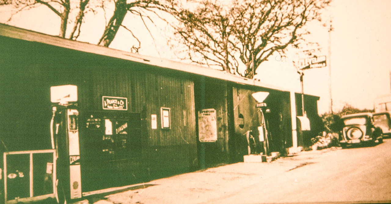 The garage in the1930s on the site of todays Mulberry Orchard