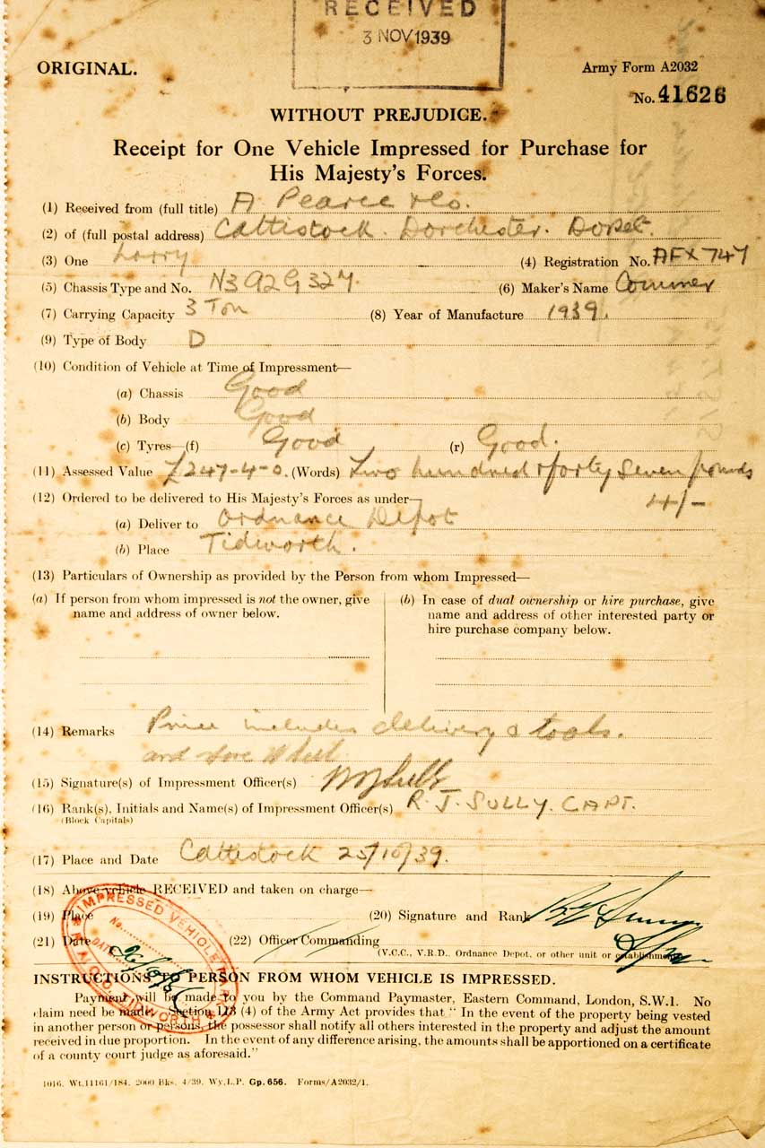 The requisition order for a nearly new lorry dated 25.10.1939
