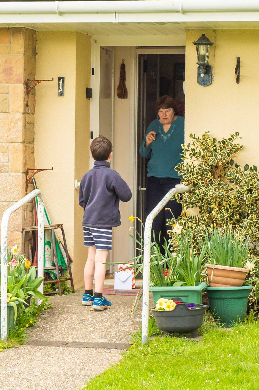 Alexander delivering an Easter gift and card to Rowena