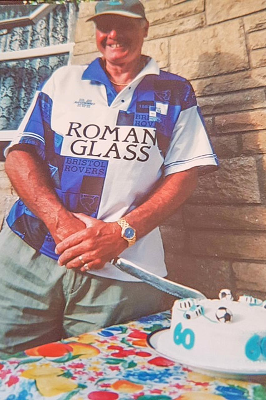 Wearing his Bristol Rovers shirt and celebrating his 60th birthday