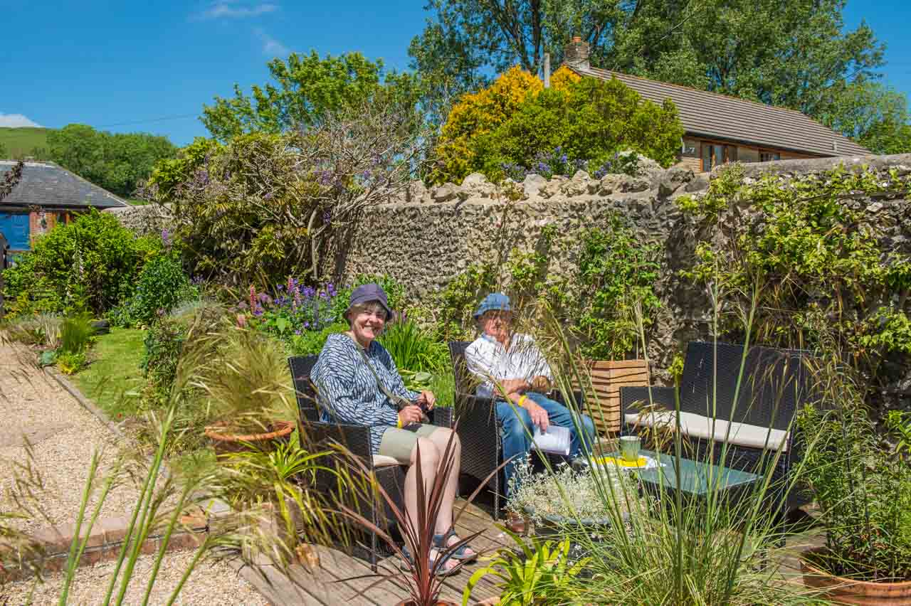 4. Gill and Alistair: As in many gardens, visitors took the opportunity to sit and enjoy the layout of the plants