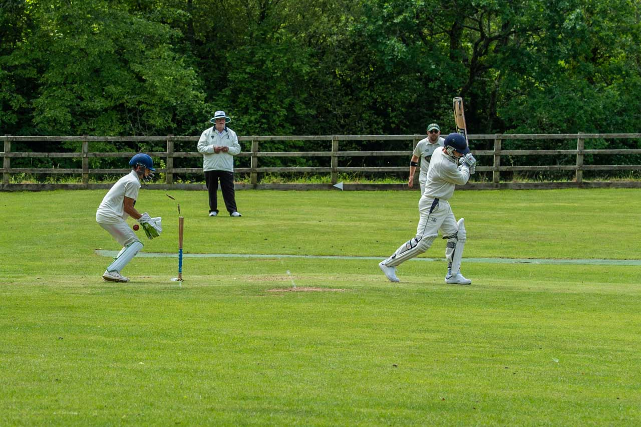 A home side wicket goes as Liam is bowled