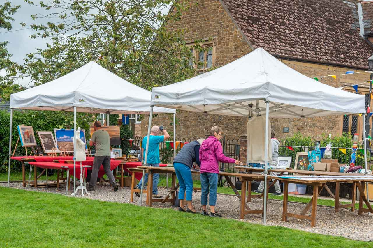 The morning of the Fete and all hands on deck to prepare the stalls