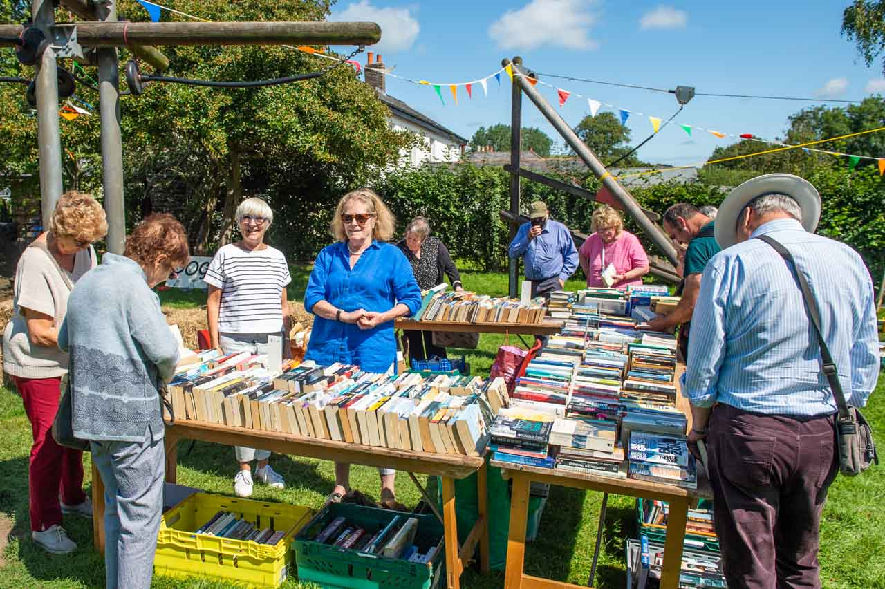 Mary and Sue enjoying their first year selling books at the bookstall